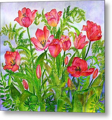 Tulips And Lacy Ferns Metal Print