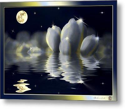Tulips And Moon Reflection Metal Print