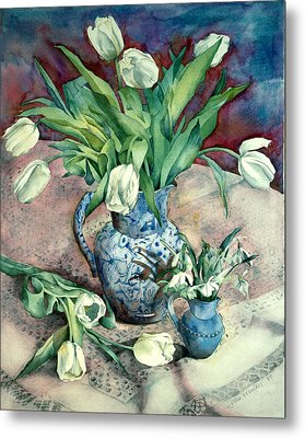 Tulips And Snowdrops Metal Print by Julia Rowntree