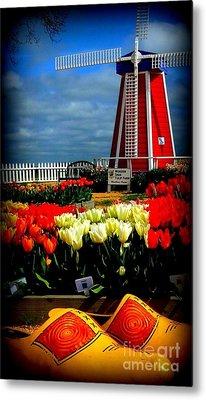 Tulips And Windmill Metal Print by Susan Garren