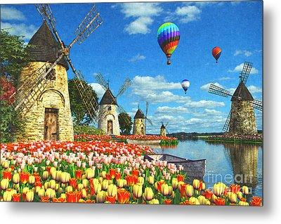 Tulips And Windmills Metal Print