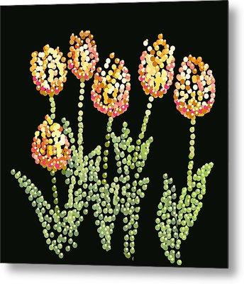 Tulips Bedazzled Metal Print by R  Allen Swezey