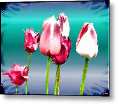 Metal Print featuring the digital art Tulips by Daniel Janda