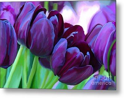 Tulips-dark-purple Metal Print