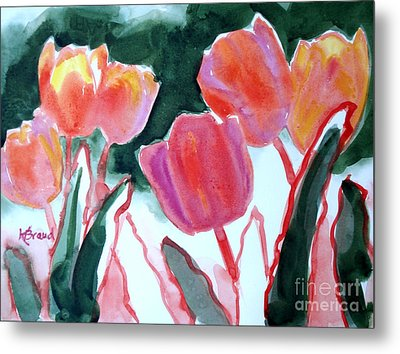 Tulips For The Love Of Patches Metal Print by Kathy Braud