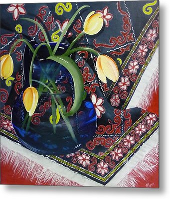 Metal Print featuring the painting Tulips by Helen Syron