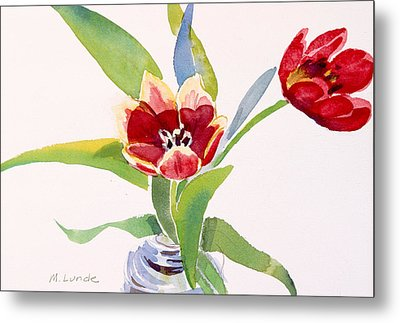 Tulips In A Can Metal Print