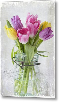 Tulips In A Jar Metal Print