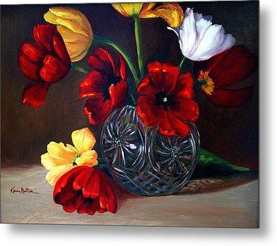 Tulips In Crystal Metal Print by Karen Mattson