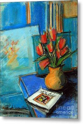 Tulips In The Mirror Metal Print by Mona Edulesco