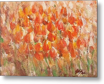 Metal Print featuring the painting Tulips by Jane  See