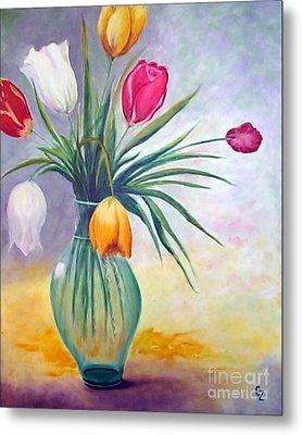 Tulips Metal Print by Nancy Czejkowski