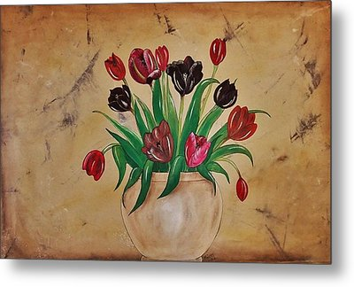 Tulips Of Tuscany 57x41 Metal Print by Cindy Micklos