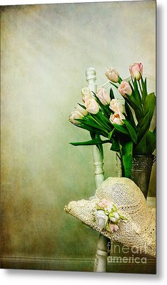 Tulips On A Chair Metal Print by Stephanie Frey