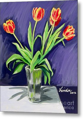 Tulips On The Table Metal Print