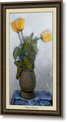 Metal Print featuring the painting Tulips by Pemaro