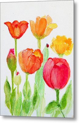 Tulips With Lady Bug Metal Print by Ashleigh Dyan Bayer