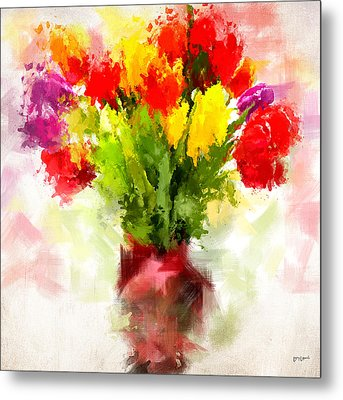 Tulips With Love Metal Print by Lourry Legarde