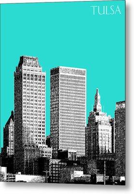 Tulsa Skyline - Aqua Metal Print by DB Artist