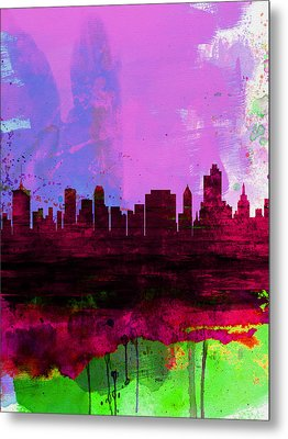 Tulsa Watercolor Skyline 2 Metal Print by Naxart Studio
