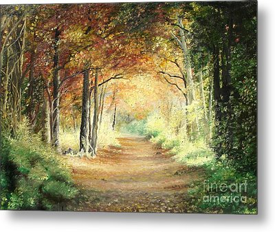 Metal Print featuring the painting Tunnel In Wood by Sorin Apostolescu