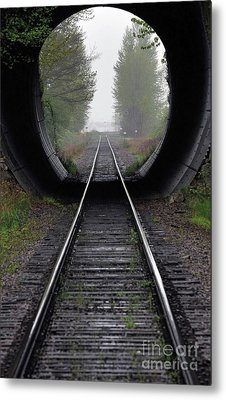 Tunnel Into The Mist  Metal Print by Rod Wiens