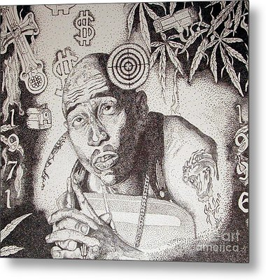 Tupac Metal Print by Kryztina Spence
