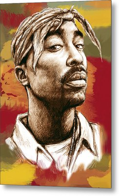 Tupac Shakur Stylised Drawing Art Poster Metal Print by Kim Wang