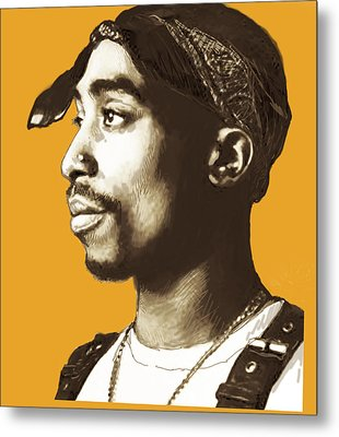 Tupac Shakur Stylised Pop Art Poster Metal Print by Kim Wang