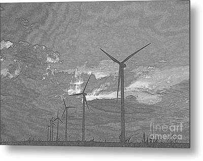 Metal Print featuring the photograph Turbines In Pencil by Jim McCain