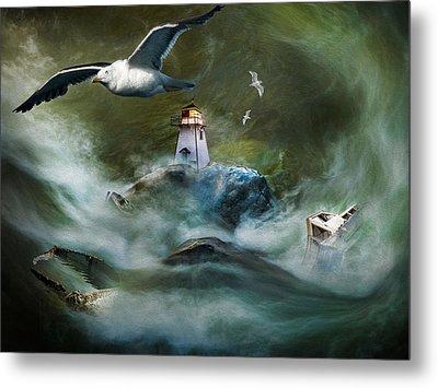 Turbulence At Irving Lighthouse Metal Print