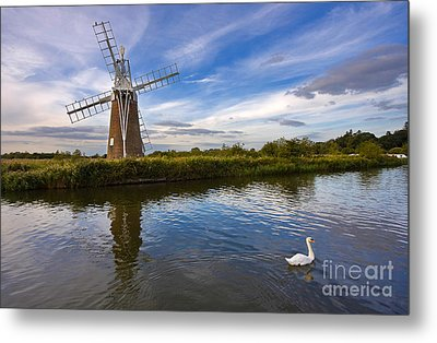 Turf Fen Drainage Mill Metal Print by Louise Heusinkveld
