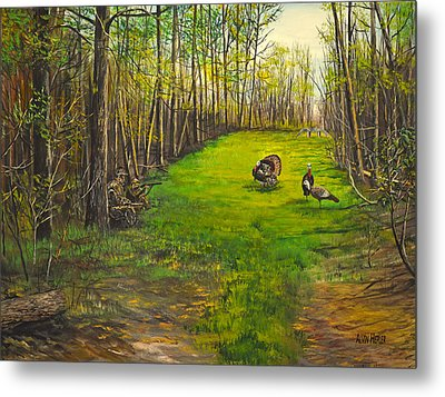 Turkey Hunt With Grandpaw At The Gas Line Metal Print