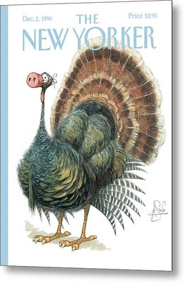 Turkey Wearing A False Pig Nose Metal Print by Peter de Seve