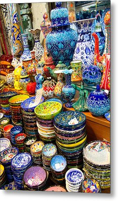 Turkish Ceramic Pottery 1 Metal Print by David Smith