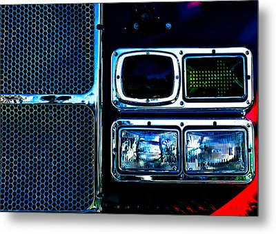Turn Signal Fire Engine Number Five Metal Print by Bob Orsillo