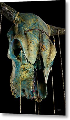 Turquoise And Gold Illuminating Steer Skull Metal Print by Mayhem Mediums