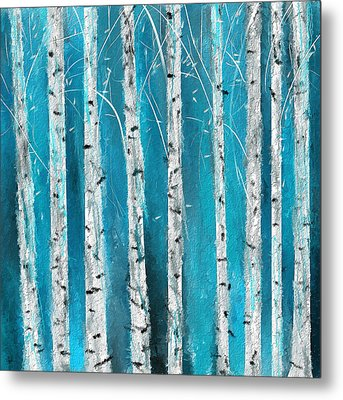 Turquoise Birch Trees II- Turquoise Art Metal Print by Lourry Legarde