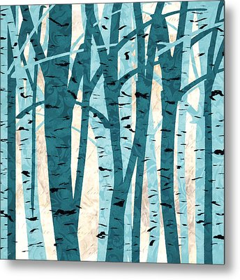 Turquoise Birch Trees Metal Print