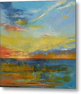 Turquoise Blue Sunset Metal Print