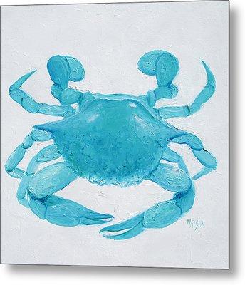 Turquoise Crab Metal Print by Jan Matson