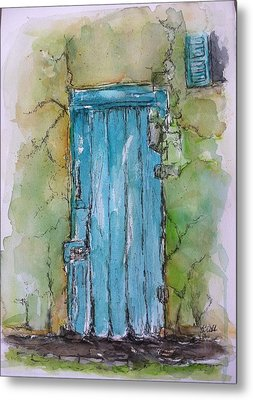 Turquoise Door Metal Print by Stephanie Sodel