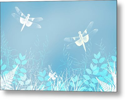 Turquoise Dragonfly Art Metal Print by Christina Rollo