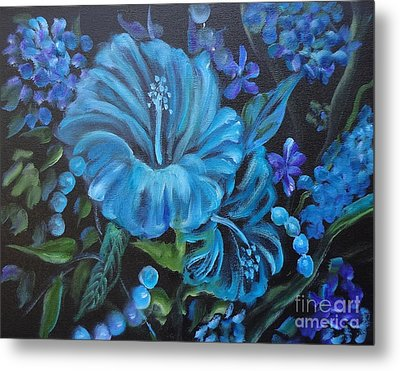 Turquoise Hibiscus Metal Print by Jenny Lee