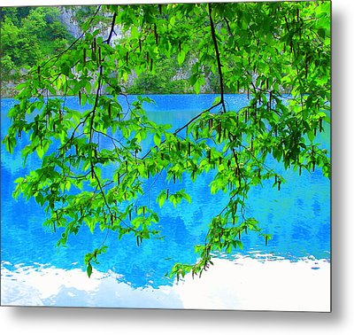 Turquoise Lake Metal Print by Ramona Johnston