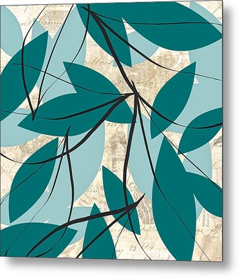 Turquoise Leaves Metal Print by Lourry Legarde