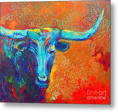 Metal Print featuring the painting Turquoise Longhorn by Karen Kennedy Chatham