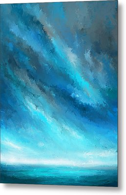 Turquoise Memories - Turquoise Abstract Art Metal Print by Lourry Legarde