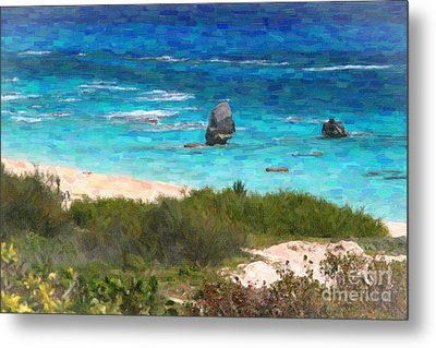 Metal Print featuring the photograph Turquoise Ocean And Pink Beach by Verena Matthew