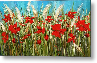 Turquoise Poppies - Red And Turquoise Art Metal Print by Lourry Legarde